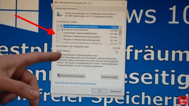 Windows 10 Festplatte aufräumen säubern Datenmüll beseitigen Windows schneller machen - Datenträgerbereinigung