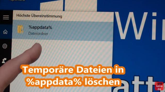 Windows 10 Festplatte aufräumen säubern Datenmüll beseitigen Windows schneller machen - Temporäre Dateien löschen mit %appdata% oder %temp%