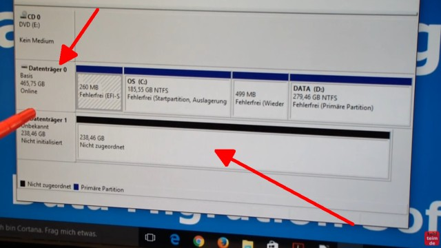 Windows 10 auf Samsung SSD Evo klonen mit Samsung Software - Fehler 301001 FIX Error - in der Datenträgerverwaltung wird die interne HDD und die externe SSD angezeigt