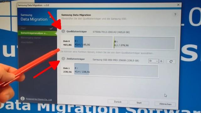 Windows 10 auf Samsung SSD Evo klonen mit Samsung Software - Fehler 301001 FIX Error - interne HDD (oben) und neue, leere SSD (unten)