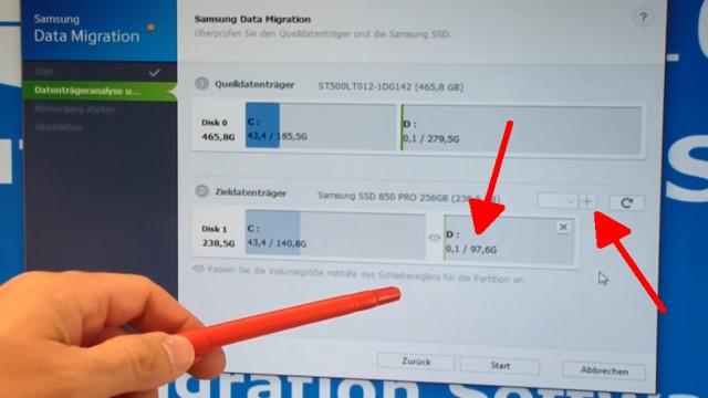 """Windows 10 auf Samsung SSD Evo klonen mit Samsung Software - Fehler 301001 FIX Error - auf """"Plus"""" klicken (Pfeil), um auch Laufwerk D: (Pfeil) zu klonen"""