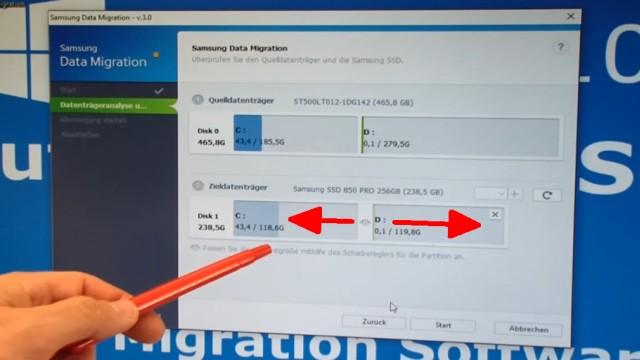 Windows 10 auf Samsung SSD Evo klonen mit Samsung Software - Fehler 301001 FIX Error - Größe der Partitionen C: und D: mit dem Schieber anpassen