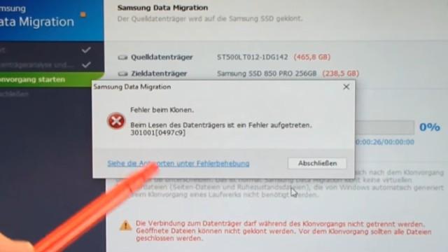 Windows 10 auf Samsung SSD Evo klonen mit Samsung Software - Fehler 301001 FIX Error - beim Klonen erscheint Fehler 301001 (0497C9)