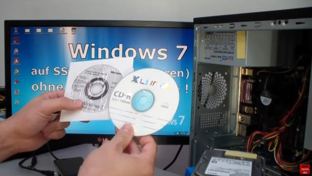 Windows 7 Festplatte auf SSD oder HDD klonen ohne Extrasoftware - dazu braucht man eine leere CD oder eine Windows 7 Boot-CD / USB-Stick