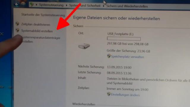 """Windows 7 Festplatte auf SSD oder HDD klonen ohne Extrasoftware - klickt auf """"Systemabbild erstellen"""""""