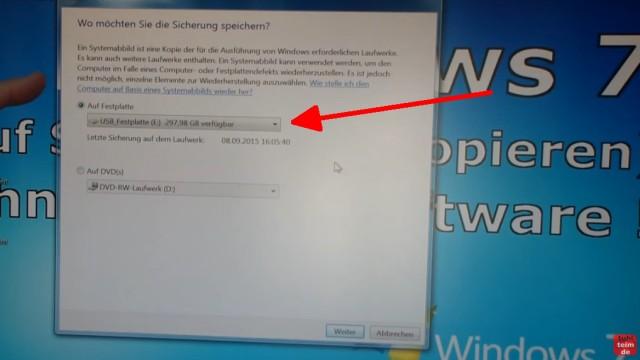 Windows 7 Festplatte auf SSD oder HDD klonen ohne Extrasoftware - die USB-Festplatte wird normalerweise direkt erkannt