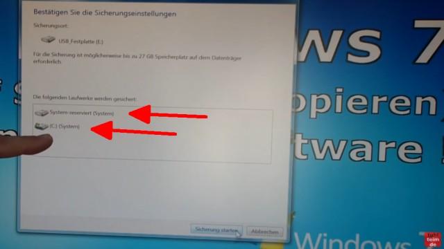 Windows 7 Festplatte auf SSD oder HDD klonen ohne Extrasoftware - alle systemrelevanten Laufwerke werden gesichert