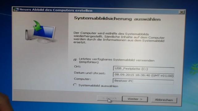 Windows 7 Festplatte auf SSD oder HDD klonen ohne Extrasoftware - Windows erkennt die externe Platte und das dort gespeicherte Systemabbild