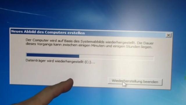 Windows 7 Festplatte auf SSD oder HDD klonen ohne Extrasoftware - die Daten werden von der externen Platte auf die SSD kopiert