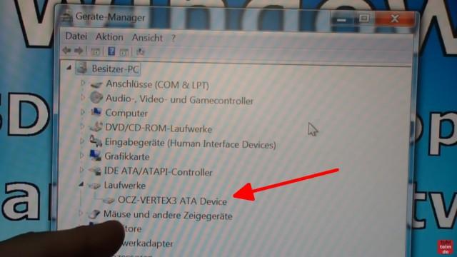 Windows 7 Festplatte auf SSD oder HDD klonen ohne Extrasoftware - der PC wurde von der neuen SSD erstmalig gestartet - die SSD wird erkannt
