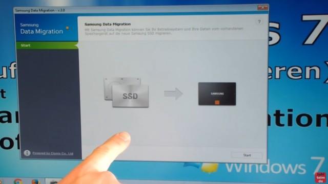 Windows 7 auf Samsung SSD Evo klonen mit Samsung Data Migration Software - Software nach Installation starten