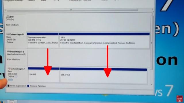 Windows 7 auf Samsung SSD Evo klonen mit Samsung Data Migration Software - geklonte Festplatte mit Datenträgerverwaltung prüfen