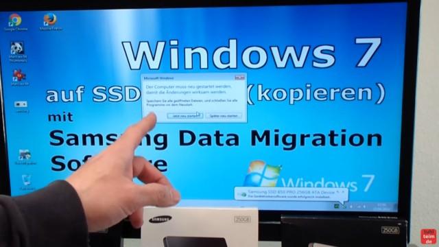 Windows 7 auf Samsung SSD Evo klonen mit Samsung Data Migration Software - Notebook bootet jetzt mit neuer SSD - Neustart einmalig erforderlich