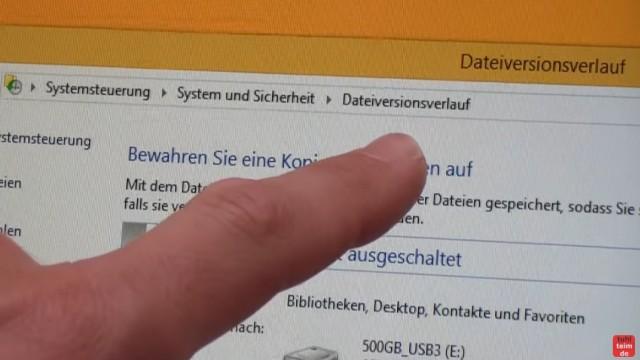 """Windows 8.1 Festplatte auf SSD / HDD klonen ohne Extrasoftware - klickt jetzt auf """"Dateiversionsverlauf"""""""