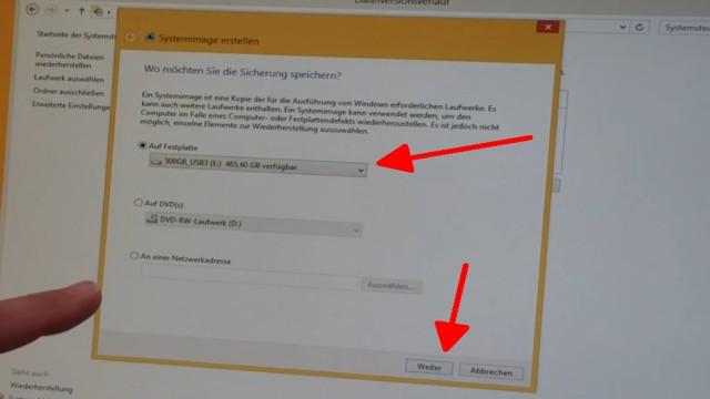 Windows 8.1 Festplatte auf SSD / HDD klonen ohne Extrasoftware - jetzt erscheint dieses Fenster und die USB-Festplatte wird angezeigt