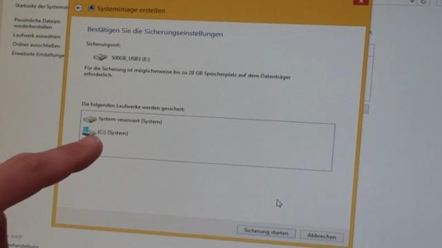 Windows 8.1 Festplatte auf SSD / HDD klonen ohne Extrasoftware - alle zu klonenden Partitionen werden hier angezeigt