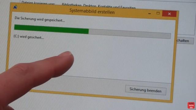 Windows 8.1 Festplatte auf SSD / HDD klonen ohne Extrasoftware - der Festplatteninhalt wird auf die externe USB-Platte kopiert