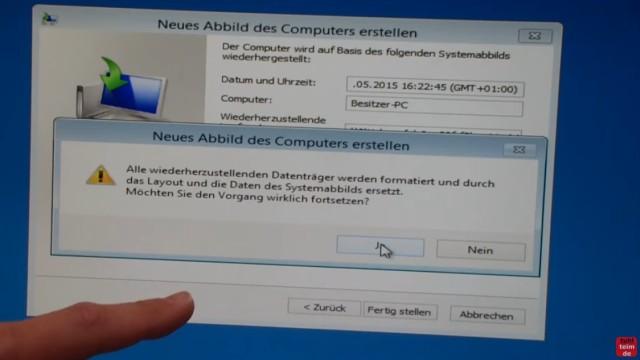 """Windows 8.1 Festplatte auf SSD / HDD klonen ohne Extrasoftware - klickt auf """"Ja"""" und die Daten werden von der USB-Festplatte auf die neue SSD kopiert"""