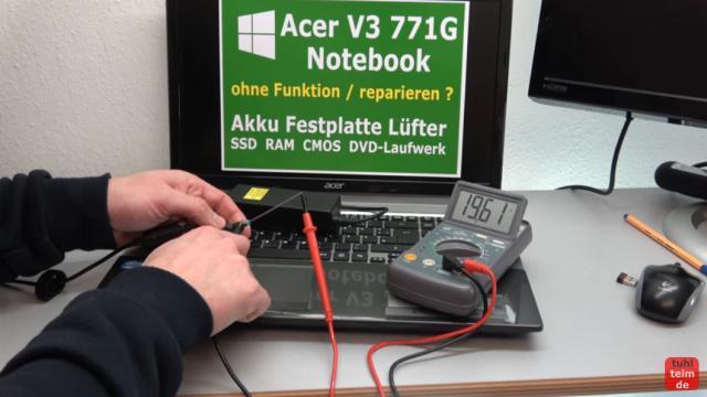 Acer Notebook defekt - öffnen und reparieren - Mainboard ausbauen - V3 771G - Netzteil prüfen