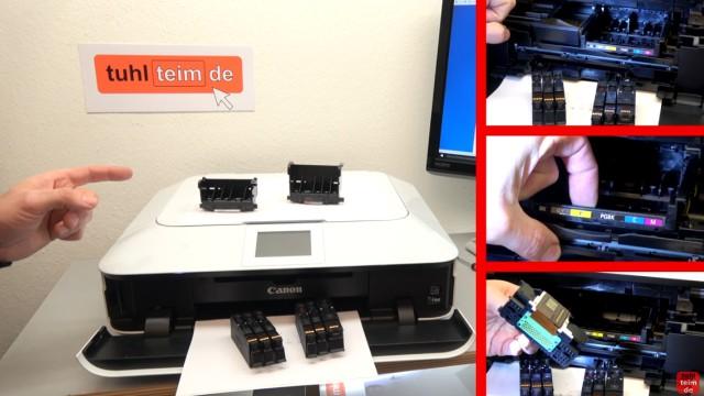 Canon Pixma Drucker Druckkopf auswechseln - ausbauen - wechseln - bei neuen Pixma Druckern lässt sich die Scannereinheit nicht hochklappen