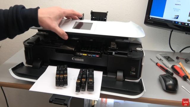 Canon Pixma Drucker Druckkopf auswechseln - ausbauen - wechseln - Patronen wieder einsetzen und Abdeckung schließen