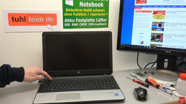 HP Notebook funktioniert nicht mehr - Bildschirm bleibt schwarz - aufschrauben und prüfen - Notebook lässt sich nicht einschalten