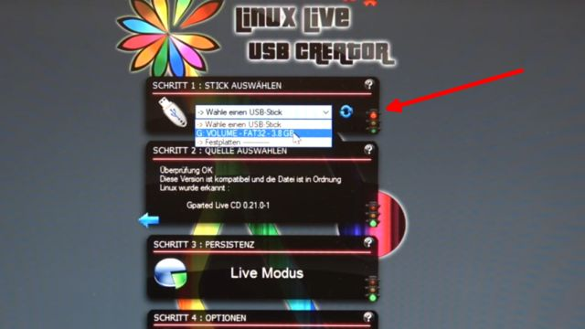 Linux auf USB-Stick erstellen - Linux Live USB Creator - USB-Stick aus der Liste auswählen