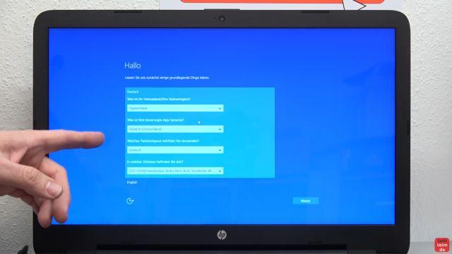 Neues Notebook einrichten - Teil 1 - Windows 10 fertig installieren und schneller machen - zuerst wird nach allgemeinen Einstellungen wie Sprache und Standort gefragt