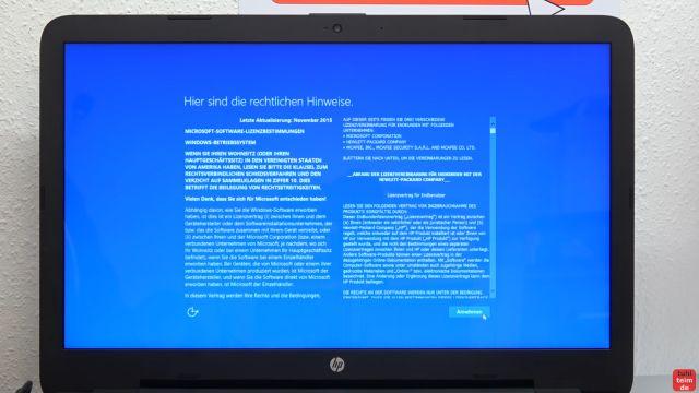 Neues Notebook einrichten - Teil 1 - Windows 10 fertig installieren und schneller machen - Rechtliche Hinweise müssen akzeptiert werden