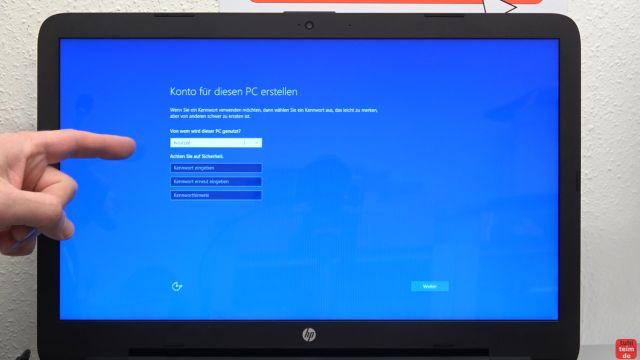 Neues Notebook einrichten - Teil 1 - Windows 10 fertig installieren und schneller machen - Konto für Windows 10 erstellen