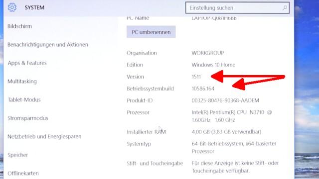 Neues Notebook einrichten - Teil 1 - Windows 10 fertig installieren und schneller machen - Windows 10 Versionsnummer prüfen