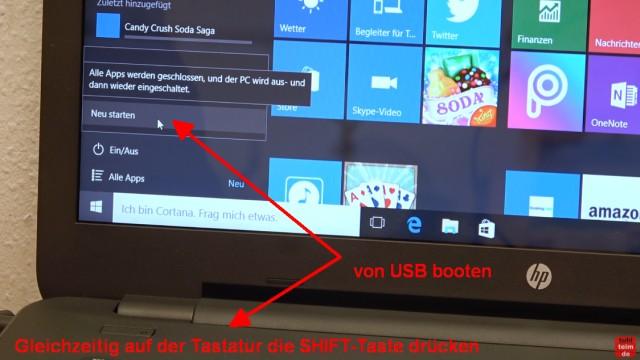 Neues Notebook einrichten - Teil 2 - Windows 10 komplett neu installieren - jetzt Windows 10 neu starten und direkt von USB booten