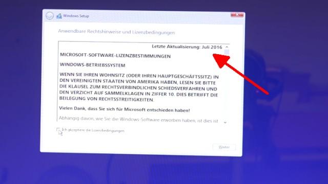 Neues Notebook einrichten - Teil 2 - Windows 10 komplett neu installieren - in den Lizenzbedingungen kann die Windows 10-Version erkannt werden