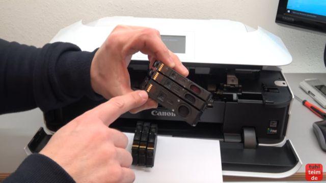 Canon Pixma Druckkopf Fehler 1403 - Druckkopftyp ist nicht korrekt - alle Patronen herausnehmen, prüfen und ggf. tauschen