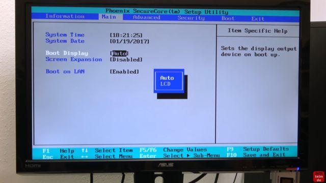 Notebook Bildschirm schwarz - Display zerlegen - externen Monitor aktivieren - im Bios - Boot Display - Auto oder LCD