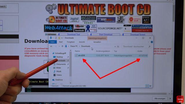Ultimate Boot CD runterladen auf USB-Stick oder CD - PC oder Laptop testen - UBCD ISO wurde runtergeladen