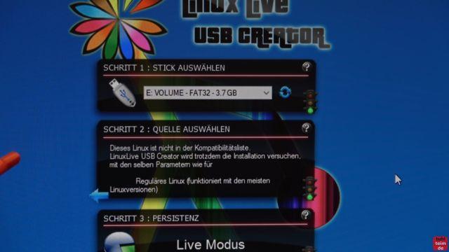 Ultimate Boot CD runterladen auf USB-Stick oder CD - PC oder Laptop testen - Linux Live USB Creator - USB-Stick und Quelle auswählen