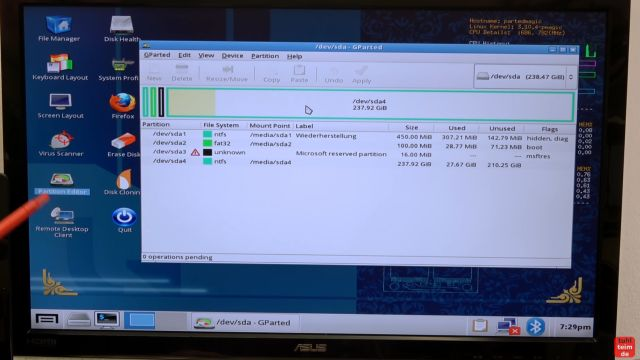 Ultimate Boot CD runterladen auf USB-Stick oder CD - PC oder Laptop testen - GParted gebootet von der UBCD