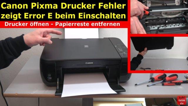 Canon Pixma Drucker Fehler / Error E / E03 wird im Display beim Einschalten angezeigt - Drucker blockiert und nimmt keine Druckaufträge an