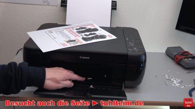 Canon Pixma Drucker Fehler / Error E / E03 wird im Display beim Einschalten angezeigt - Gerät druckt wieder - Papierresten sind immer noch im Druckwerk