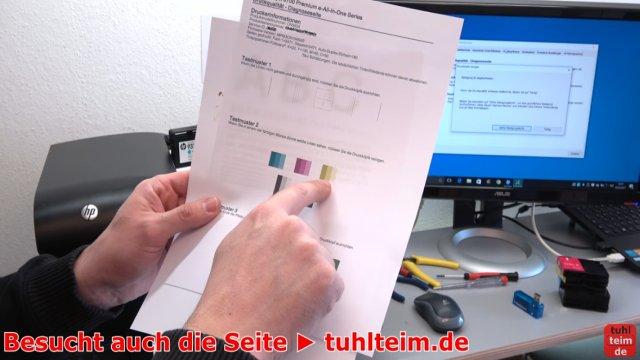 HP OfficeJet druckt falsche keine Farben - Druckkopf per Hand reinigen - Farbfehler im Ausdruck