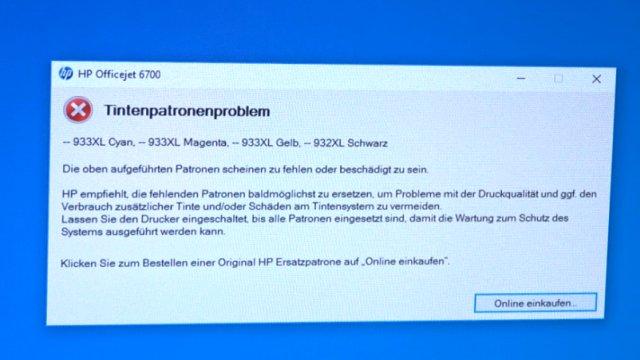 HP OfficeJet druckt falsche keine Farben - Druckkopf per Hand reinigen - andere Fehlermeldung auf dem Bildschirm
