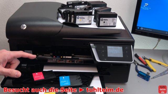 HP OfficeJet druckt falsche keine Farben - Druckkopf per Hand reinigen - Tintenpatronen prüfen und wechseln