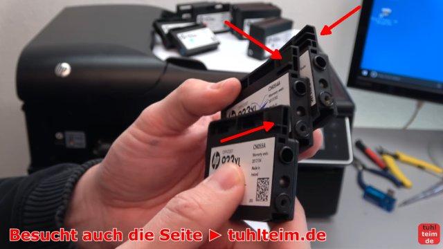 HP OfficeJet druckt falsche keine Farben - Druckkopf per Hand reinigen - Tintenpatronen sind mechanisch kodiert