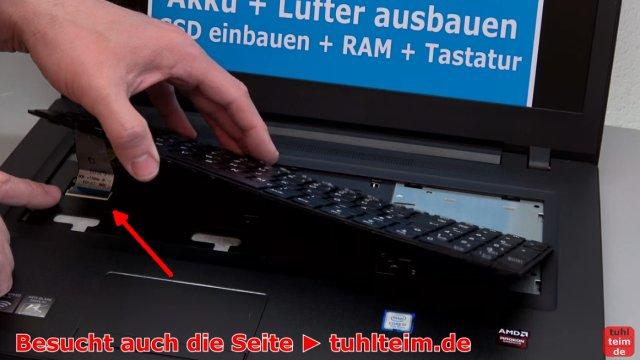 Lenovo V110 Notebook öffnen - Akku SSD Lüfter Tastatur wechseln - Tastaturkabel entfernen