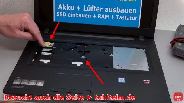 Lenovo V110 Notebook öffnen - Akku SSD Lüfter Tastatur wechseln - Lüfter und Akkukabel