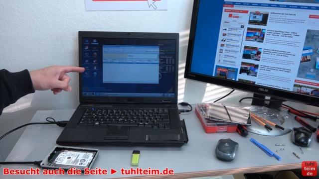 Notebook Bildschirm bleibt schwarz oder geht aus - Ursache: HDD defekt - die externe Festplatte wird von PartedMagic erkannt