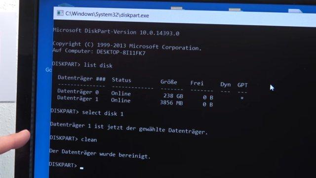 """Windows USB-Stick erstellen und bootfähig machen zum Installieren Windows 10 7 8 - mit dem diskpart.exe-Befehl """"clean"""" den USB-Stick löschen"""