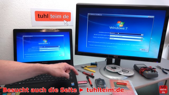 Windows USB-Stick erstellen und bootfähig machen zum Installieren Windows 10 7 8 - der USB-Stick bootet jetzt die Windows 7 Installation
