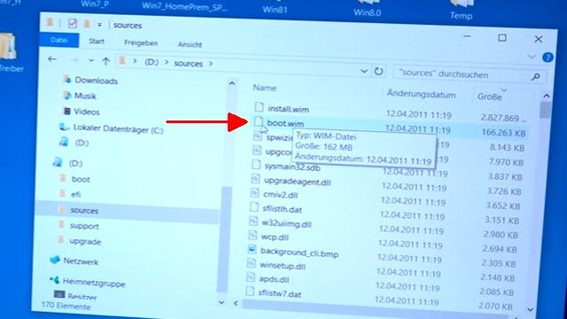 Windows bootfähiger Stick - USB3.0 Treiber einfügen integrieren - Treiber fehlt - dism.exe - die Datei boot.wim vom USB-Stick auf Platte/SSD kopieren